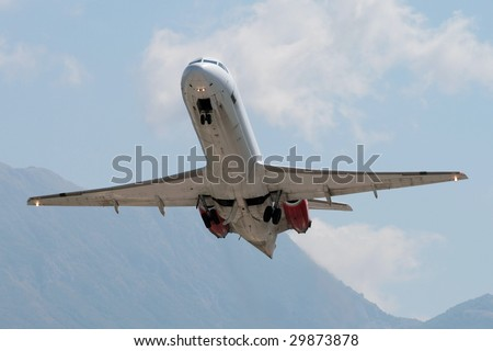Retracting gears after take off - stock photo