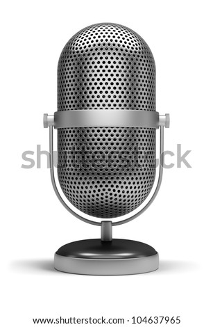 Retro a microphone. 3d image. Isolated white background. - stock photo