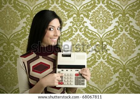 retro accountant woman calculator vintage green sixties wallpaper - stock photo