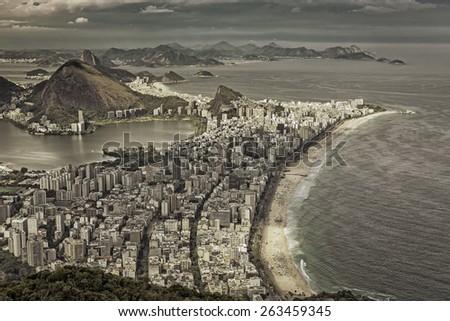 Retro aerial view of Rio de Janeiro, Brazil - stock photo
