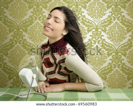 Retro air fan woman vintage tablecloth green sixties wallpaper - stock photo