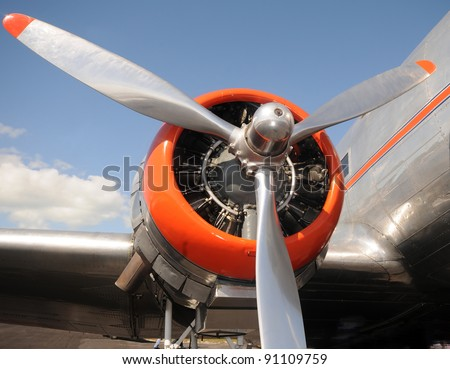 Retro airplane propeller closeup view - stock photo