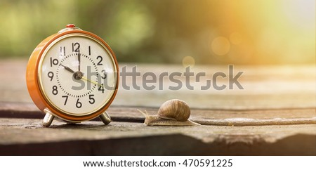 Retro alarm clock and slow snail - time concept banner
