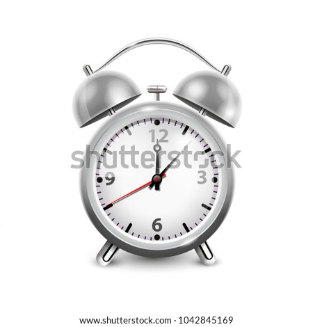 Retro alarm clock in metal housing with two bells  isolated on white background realistic  illustration