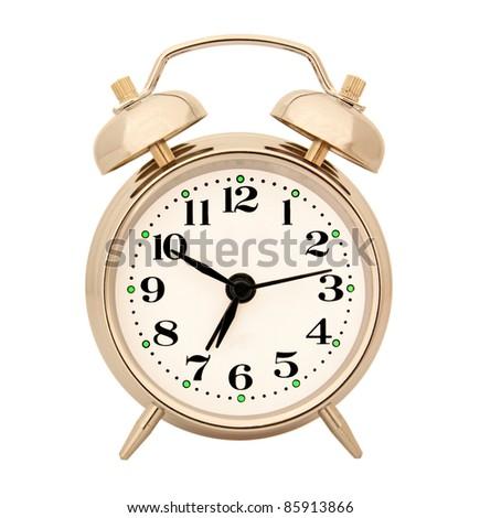 retro alarm clock on white - stock photo