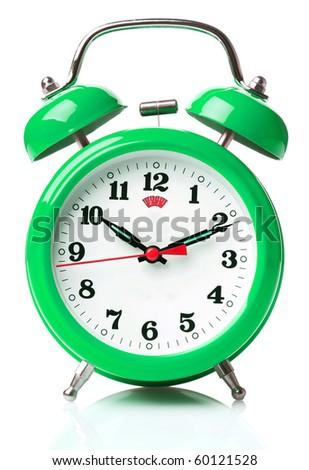 Retro alarm clock on white background - stock photo