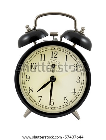 Retro alarm clock showing 7 hours and 30 minutes isolated over white - stock photo