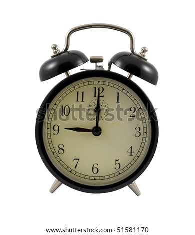 Retro alarm clock showing nine hours isolated on a white background