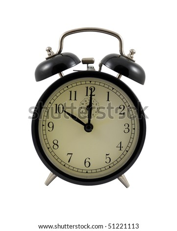 Retro alarm clock showing ten hours isolated on a white background