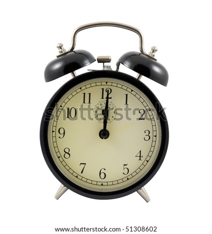 Retro alarm clock showing twelve hours isolated on a white background