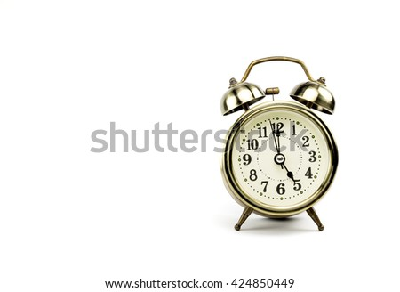 Retro alarm, Either the clock start at 5 am or 5 pm, depends on what it fits for ur concept. free space for your text here - stock photo