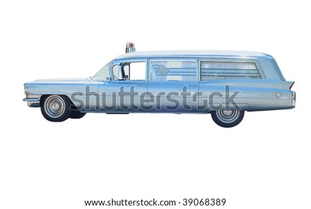Retro ambulance car isolated on white - stock photo
