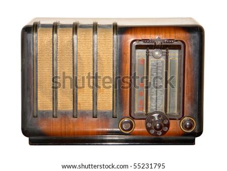 retro  and brown vintage radio - stock photo