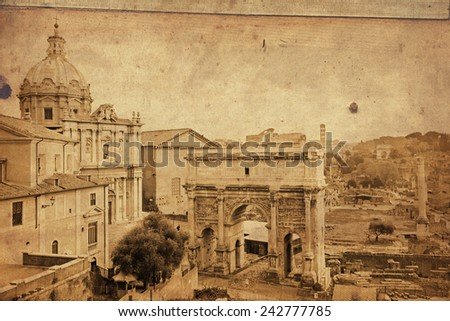 Retro and vintage styled view of ruins of the buildings of the Roman Forum in the center of the city of Rome, Italy. Grunge texture applied as background - stock photo