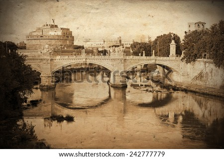 Retro and vintage styled view of Sant'Angelo Bridge and Sant'Angelo Castle in Rome (Saint Angel) with grunge texture as background - stock photo