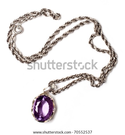 retro antiques pendant with violet stone (isolated on a white) - stock photo