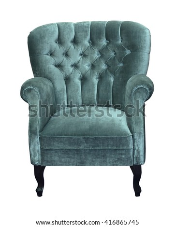 Retro armchair with velvet upholstery isolated with clipping path included