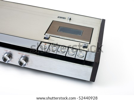 Retro audio cassette tape player recorder isolated on white. - stock photo