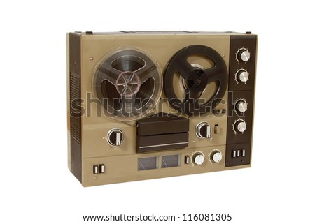 Retro audio tape recorder, with clipping path - stock photo