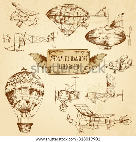 Retro aviation aeronautic transport sketch decorative icons set isolated  illustration - stock photo