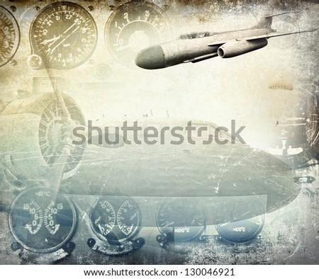 Retro aviation, grunge background - stock photo