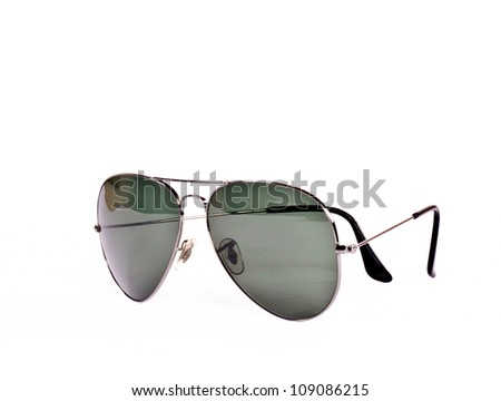 Retro aviator sunglasses isolated - stock photo