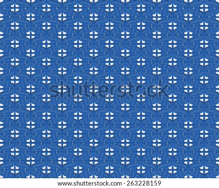 Retro background floral blue pattern in 3d - stock photo