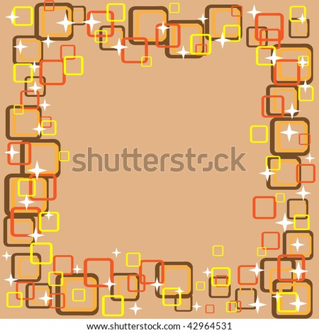 retro background frame in warm colors - stock photo