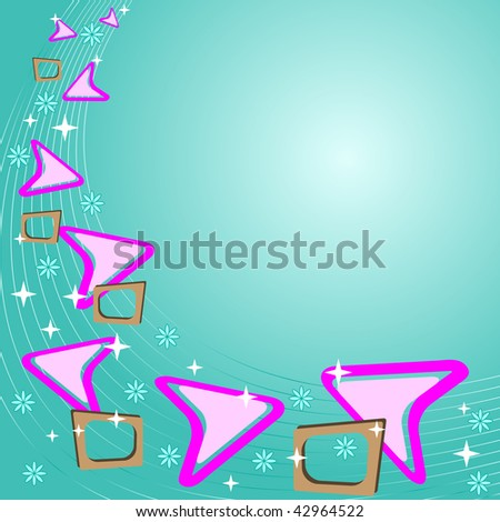 retro background in teal blue with pink and brown elements - stock photo