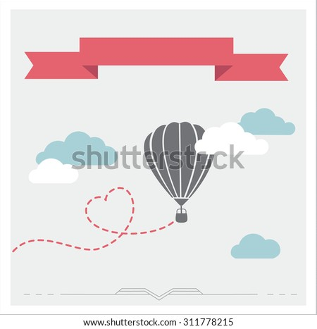 Retro background with aerostat flying in the clouds, romantic illustration - stock photo