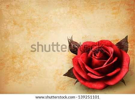 Retro background with beautiful red rose with buds. Raster version of vector.