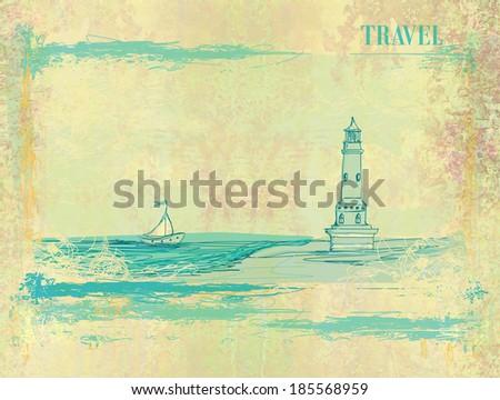 Retro background with lighthouse  - stock photo