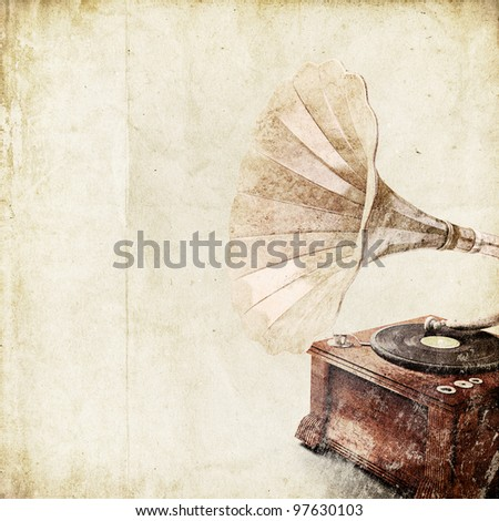 retro background with old gramophone - stock photo