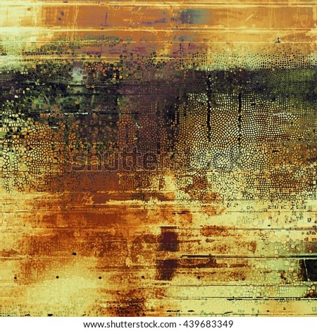 Retro background with vintage style design elements, scratched grunge texture, and different color patterns: yellow (beige); brown; green; red (orange); purple (violet); black - stock photo