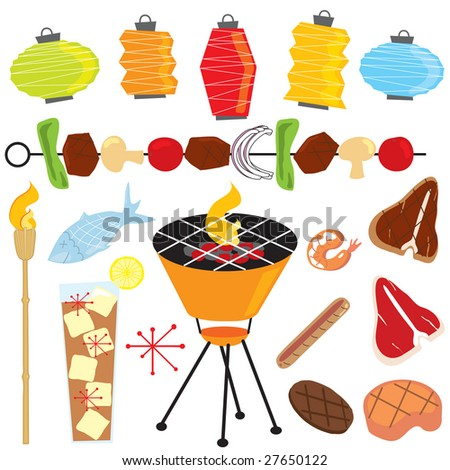 retro barbeque party with tiki torch, lanterns, shish kabob, drink, fish and meats - stock photo