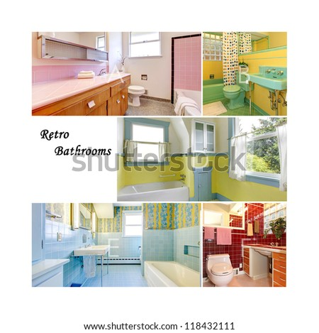 Retro bathrooms collage with colorful old bathroom interior. Mid-century pink, green, blue, red tiles and colors. - stock photo