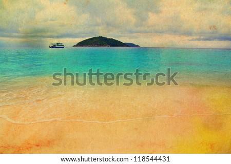 Retro beach and blue sea, grunge style - stock photo