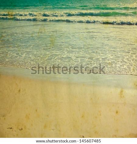 Retro beach and blue sky for background  - stock photo