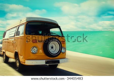 Retro beach van - stock photo