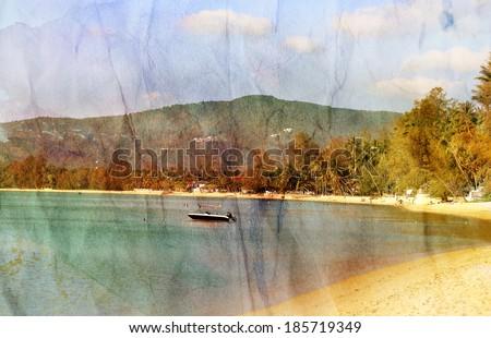 retro beautiful watercolor seascape with boat   - stock photo