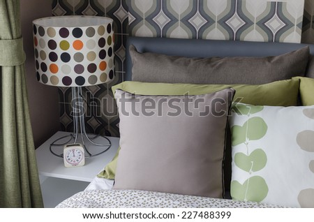 retro bedroom style with lamp on table at home - stock photo