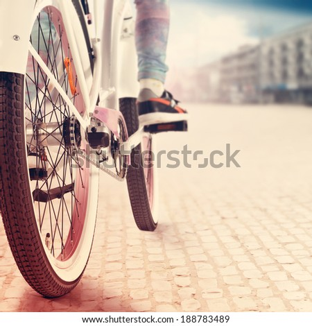 retro bike in city  - stock photo