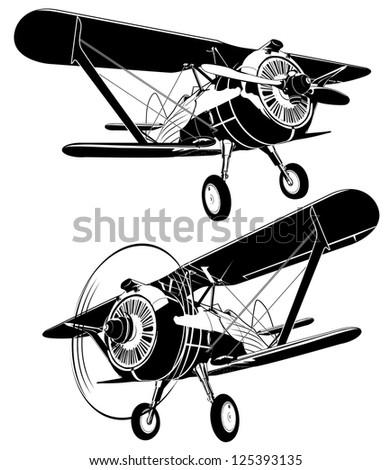 retro biplane. Vector version see in my portfolio - stock photo