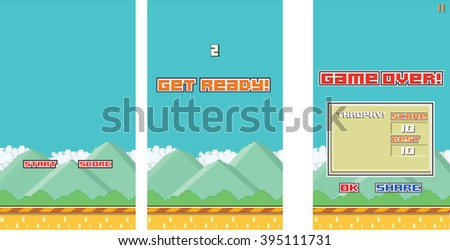 Retro 8-bit Classic Platform Mobile Game - stock photo