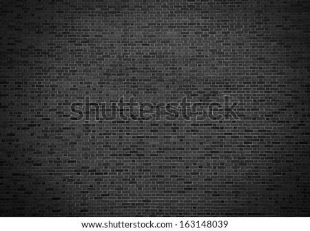 Retro black brick wall background - Vintage background - stock photo