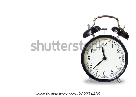 Retro ,black classical alarm clock isolated on white - stock photo