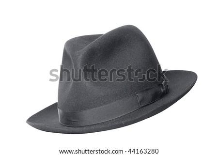 retro black hat isolated on white - stock photo