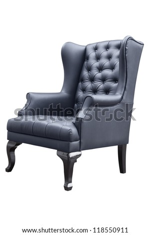 retro black leather armchair isolated on white. - stock photo