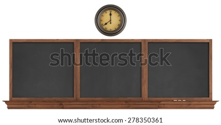 Retro blackboard with clock isolated on white - 3D Rendering - stock photo