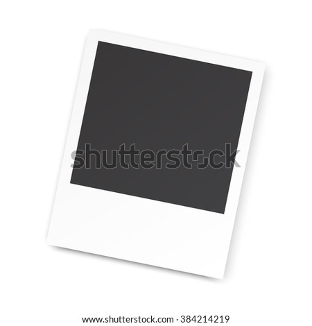 Retro blank photography with a black place for your image in a photo album page. photo frame with shadow for your object. illustration Raster version - stock photo